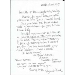 Ray Cusick Autographed 11x8 Letter