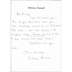 William Russell Autographed 8x6 Letter