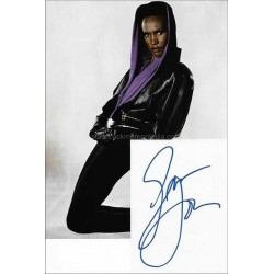 Grace Jones Autographed 6x4 White Card