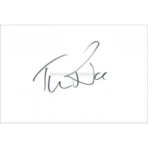 Tim Rice Autographed 6x4 White Card
