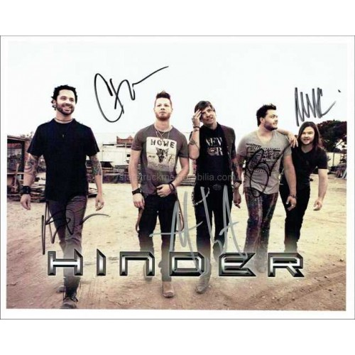 Hinder Autographed 10x8 Photo