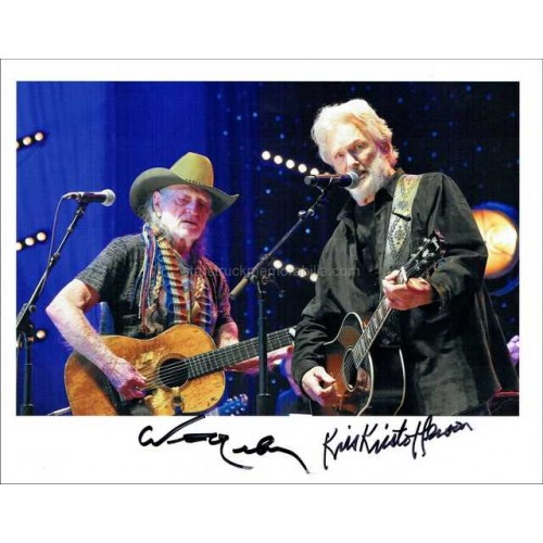 Willie Nelson and Kris Kristofferson Autographed 10x8 Photo